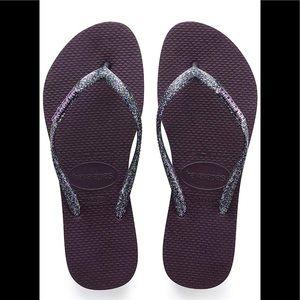 New purple metallic and glitter slim flip flops